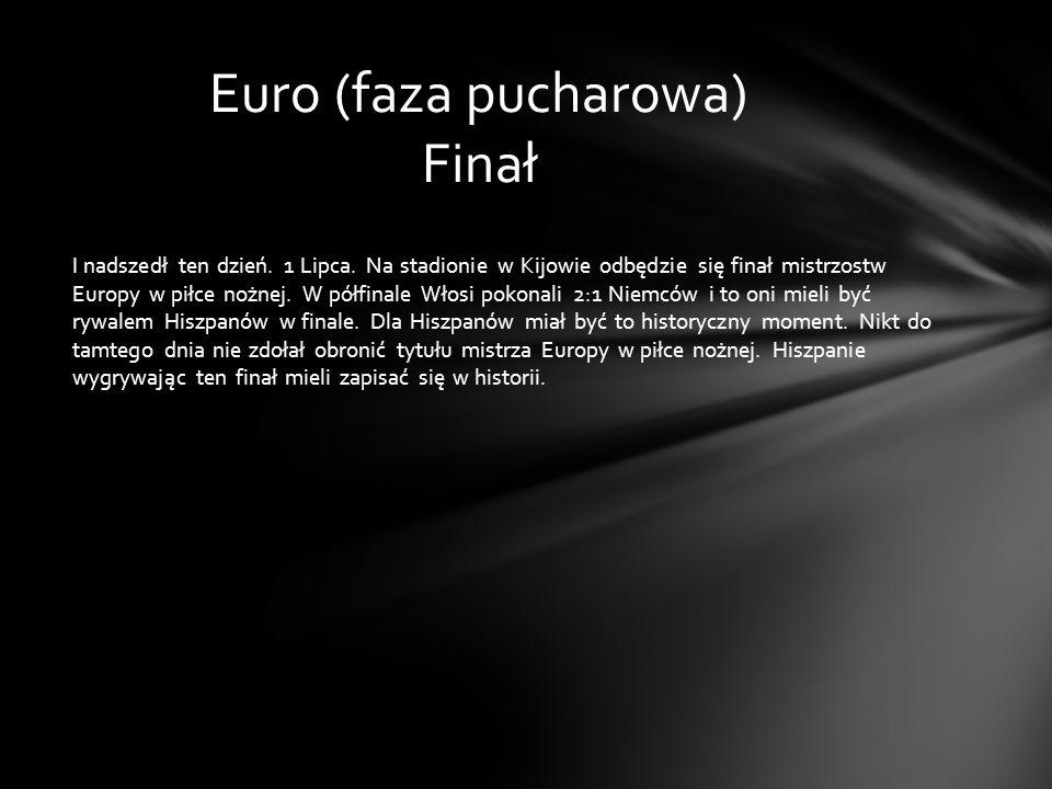 I nadszedł ten dzień. 1 Lipca. Na stadionie w Kijowie odbędzie się finał mistrzostw Europy w piłce nożnej. W półfinale Włosi pokonali 2:1 Niemców i to