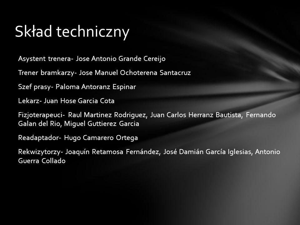 Skład techniczny Asystent trenera- Jose Antonio Grande Cereijo Trener bramkarzy- Jose Manuel Ochoterena Santacruz Szef prasy- Paloma Antoranz Espinar