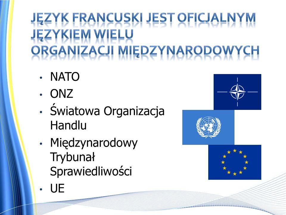 NATO ONZ Światowa Organizacja Handlu Międzynarodowy Trybunał Sprawiedliwości UE
