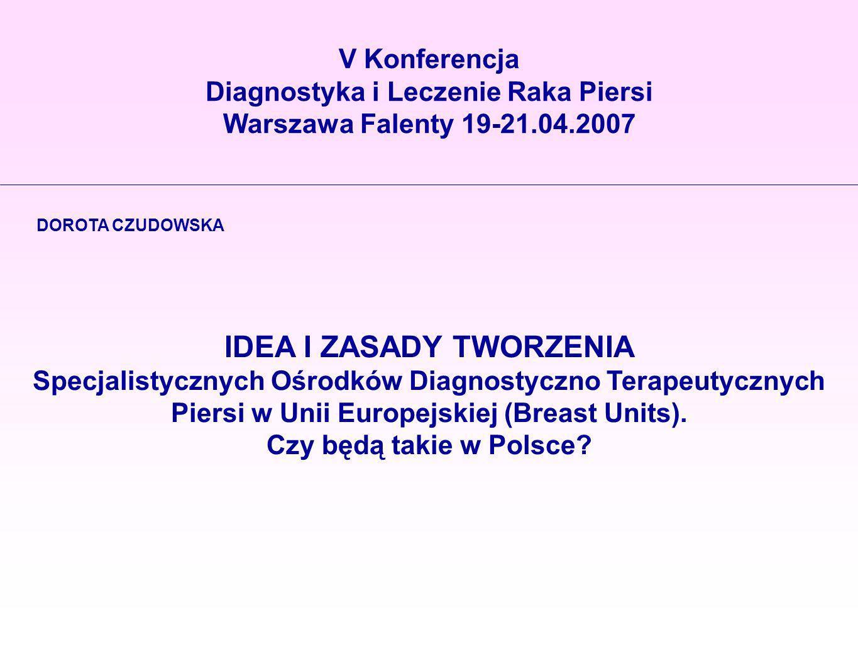 V Konferencja Diagnostyka i Leczenie Raka Piersi Warszawa Falenty 19-21.04.2007 DOROTA CZUDOWSKA IDEA I ZASADY TWORZENIA Specjalistycznych Ośrodków Di