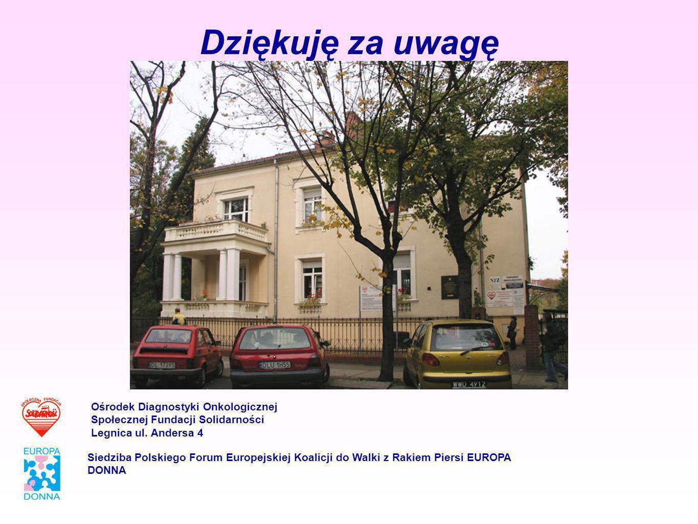 Dziękuję za uwagę Ośrodek Diagnostyki Onkologicznej Społecznej Fundacji Solidarności Legnica ul. Andersa 4 Siedziba Polskiego Forum Europejskiej Koali