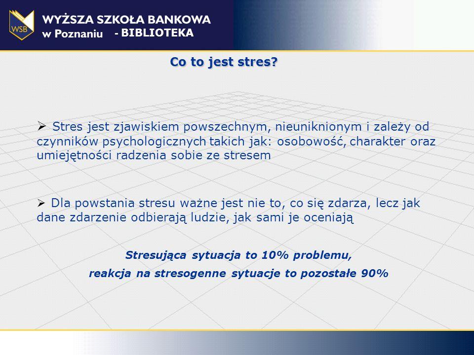 Badania nad stresem stres związany z wykonywaną pracą to najczęstszy (po bólach pleców) problem ludzi pracujących, dotyka 1/3 zatrudnionych (w UE to ok.