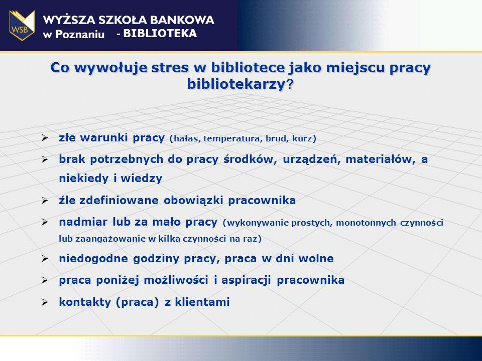 Co wywołuje stres w bibliotece jako miejscu pracy bibliotekarzy ? złe warunki pracy (hałas, temperatura, brud, kurz) brak potrzebnych do pracy środków