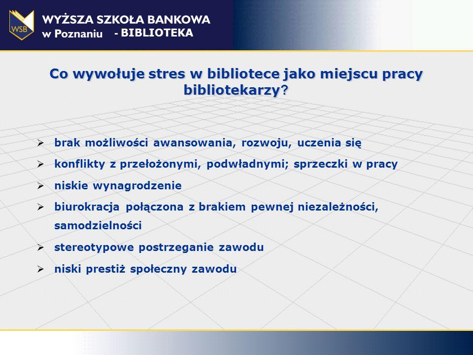 Działania antystresowe w organizacji poprawienie fizycznych warunków pracy dostosowanie psychospołecznych warunków pracy do możliwości bibliotekarzy zwiększenie umiejętności bibliotekarzy w radzeniu sobie ze stresem zapewnienie pomocy bibliotekarzom już doświadczającym skutków zdrowotnych stresu - BIBLIOTEKA