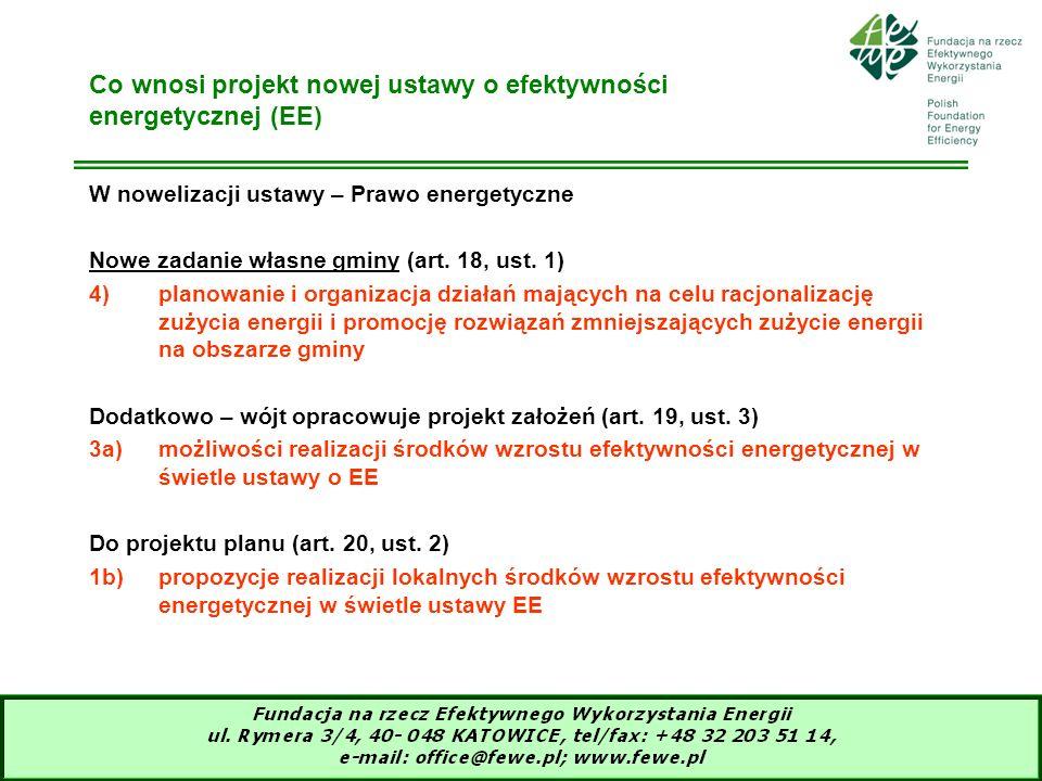 13 Co wnosi projekt nowej ustawy o efektywności energetycznej (EE) W nowelizacji ustawy – Prawo energetyczne Nowe zadanie własne gminy (art. 18, ust.