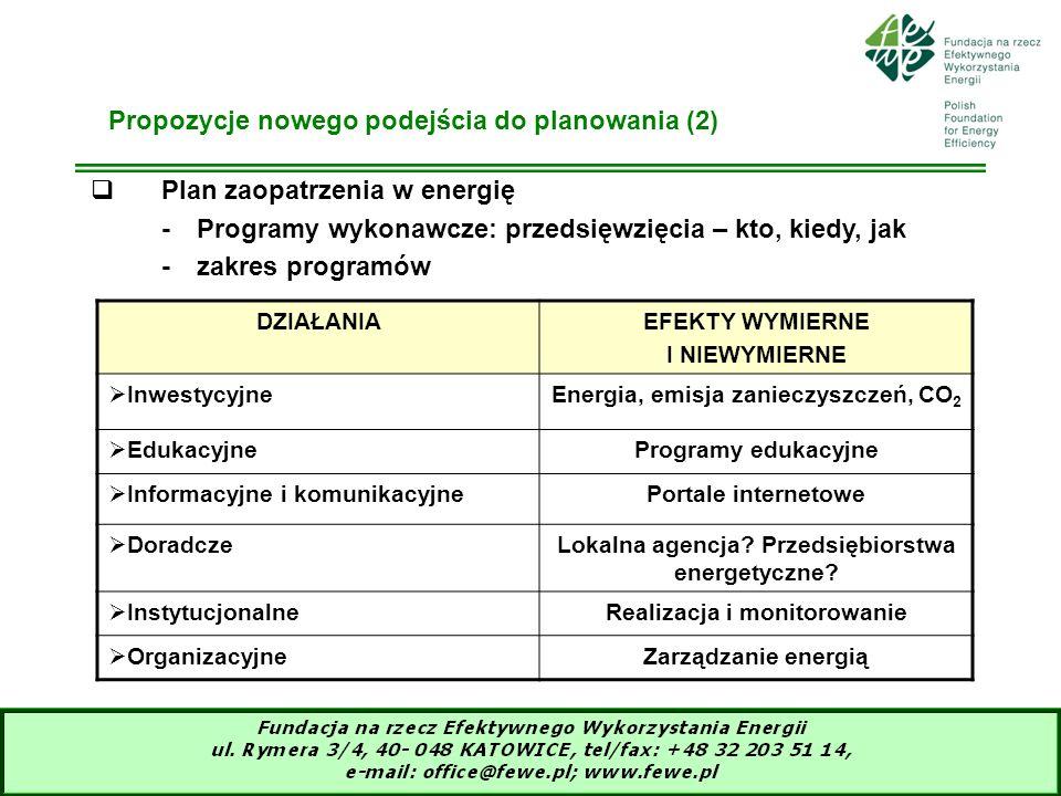 15 Plan zaopatrzenia w energię -Programy wykonawcze: przedsięwzięcia – kto, kiedy, jak -zakres programów Propozycje nowego podejścia do planowania (2)