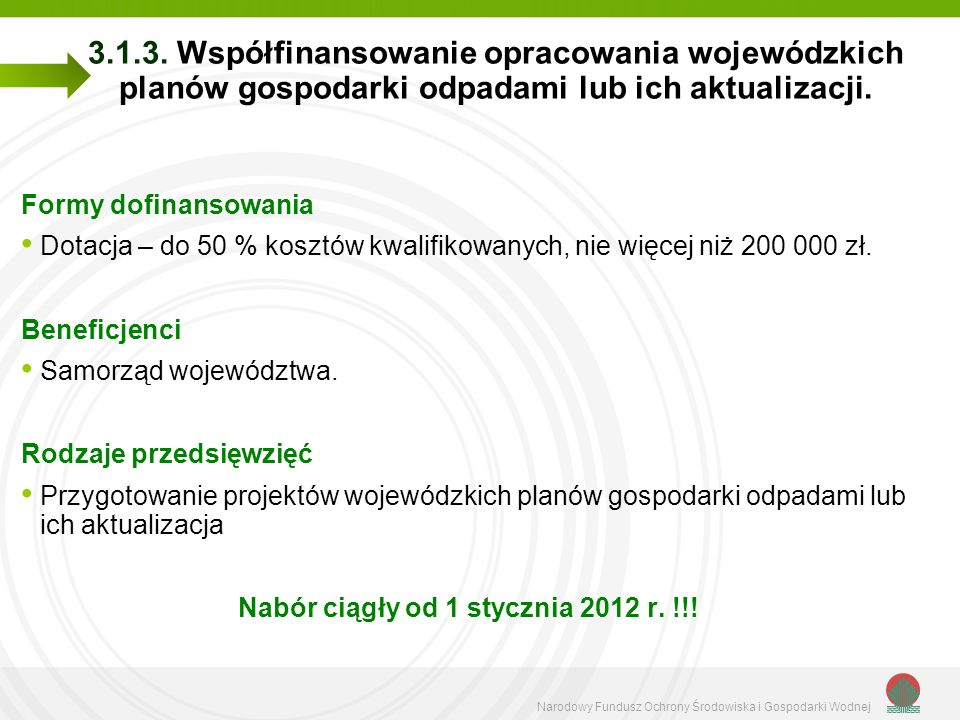 Narodowy Fundusz Ochrony Środowiska i Gospodarki Wodnej 3.1.3.
