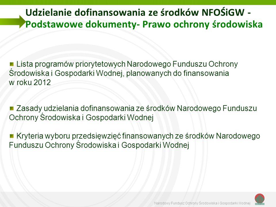 Narodowy Fundusz Ochrony Środowiska i Gospodarki Wodnej Udzielanie dofinansowania ze środków NFOŚiGW - Podstawowe dokumenty- Prawo ochrony środowiska Lista programów priorytetowych Narodowego Funduszu Ochrony Środowiska i Gospodarki Wodnej, planowanych do finansowania w roku 2012 Zasady udzielania dofinansowania ze środków Narodowego Funduszu Ochrony Środowiska i Gospodarki Wodnej Kryteria wyboru przedsięwzięć finansowanych ze środków Narodowego Funduszu Ochrony Środowiska i Gospodarki Wodnej