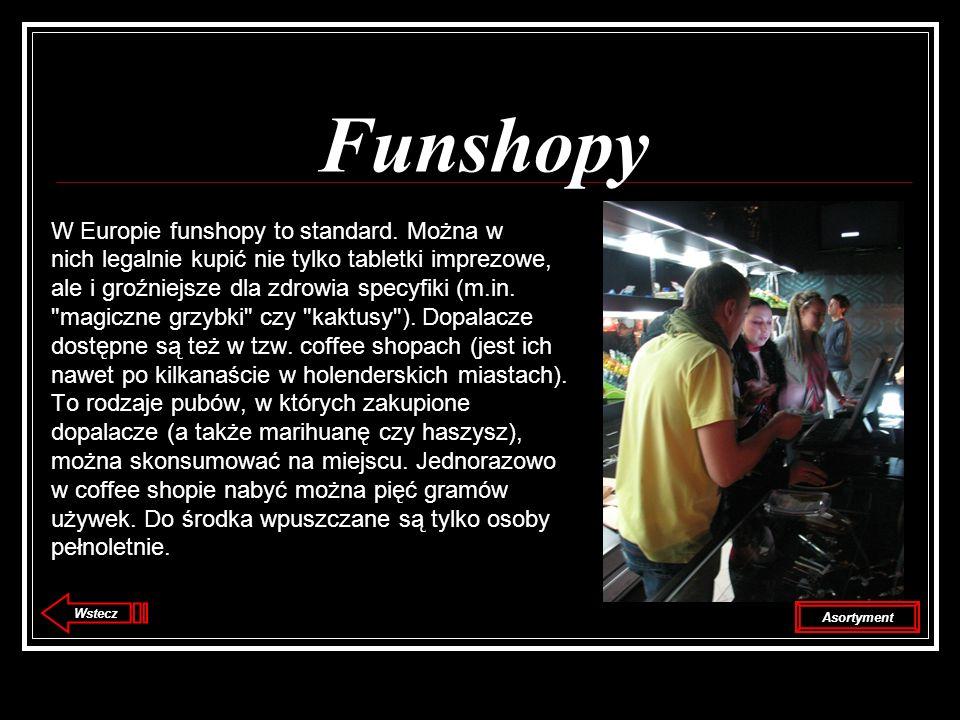 Funshopy W Europie funshopy to standard. Można w nich legalnie kupić nie tylko tabletki imprezowe, ale i groźniejsze dla zdrowia specyfiki (m.in.