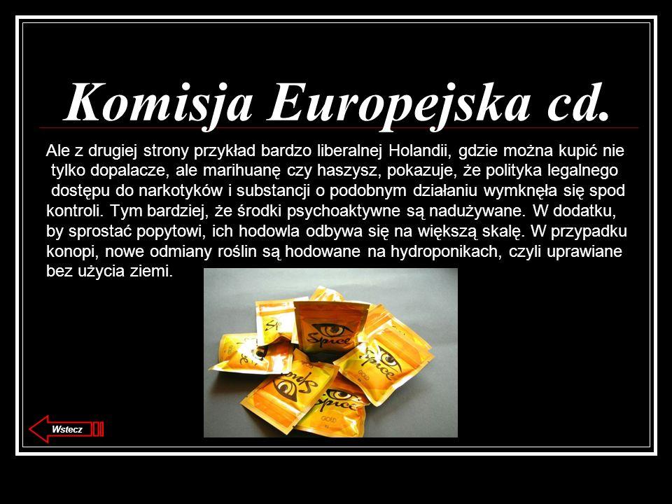 Komisja Europejska cd. Ale z drugiej strony przykład bardzo liberalnej Holandii, gdzie można kupić nie tylko dopalacze, ale marihuanę czy haszysz, pok