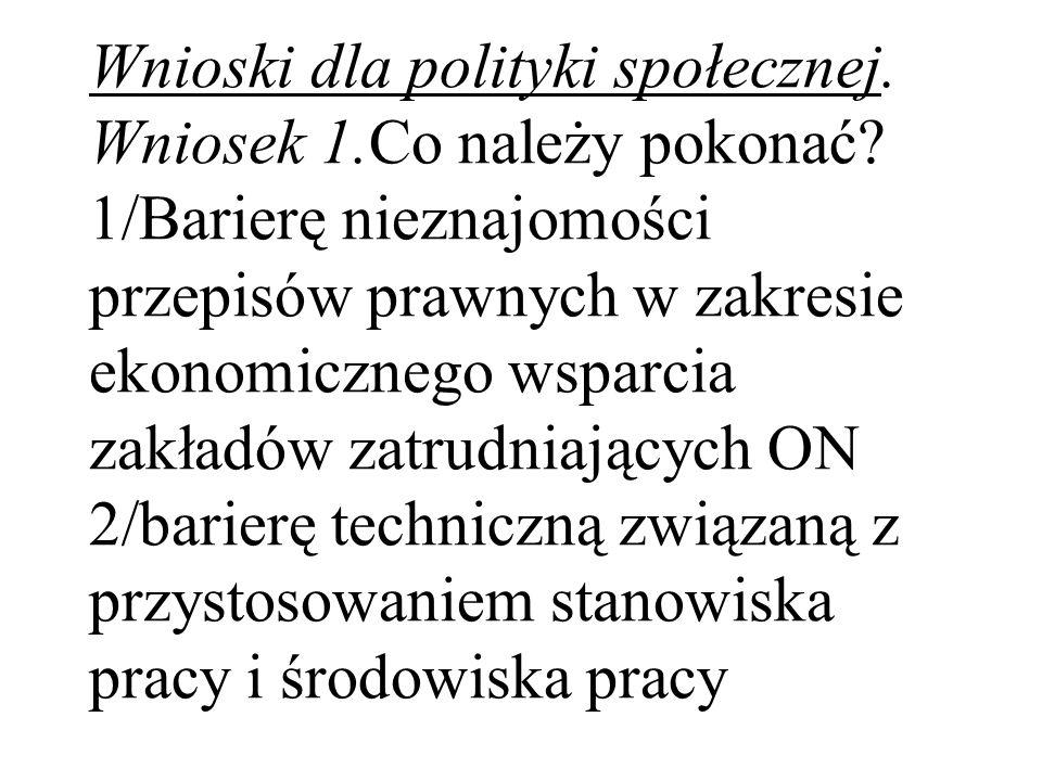 Wnioski dla polityki społecznej. Wniosek 1.Co należy pokonać? 1/Barierę nieznajomości przepisów prawnych w zakresie ekonomicznego wsparcia zakładów za