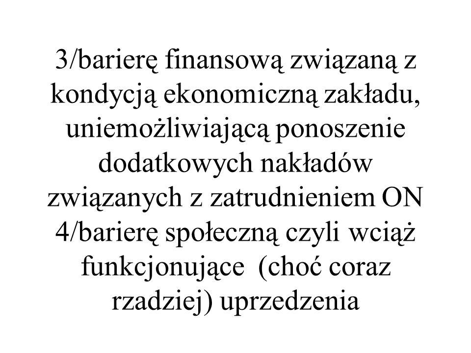 3/barierę finansową związaną z kondycją ekonomiczną zakładu, uniemożliwiającą ponoszenie dodatkowych nakładów związanych z zatrudnieniem ON 4/barierę