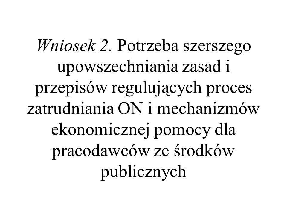 Wniosek 2. Potrzeba szerszego upowszechniania zasad i przepisów regulujących proces zatrudniania ON i mechanizmów ekonomicznej pomocy dla pracodawców