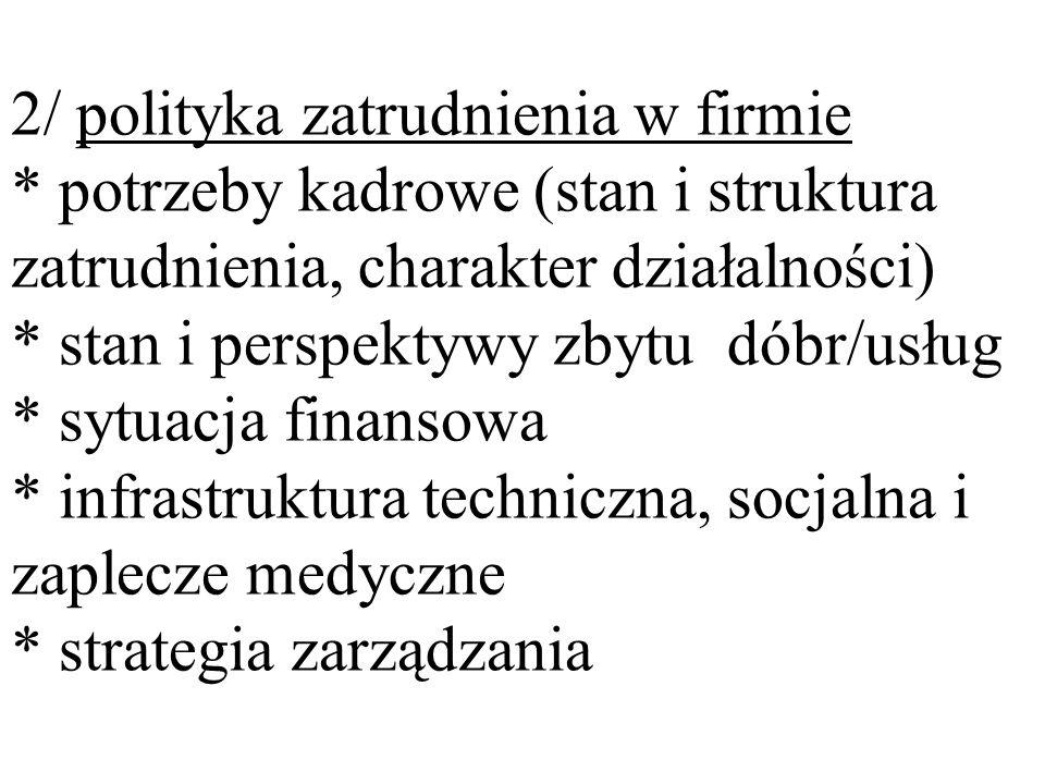 2/ polityka zatrudnienia w firmie * potrzeby kadrowe (stan i struktura zatrudnienia, charakter działalności) * stan i perspektywy zbytu dóbr/usług * s