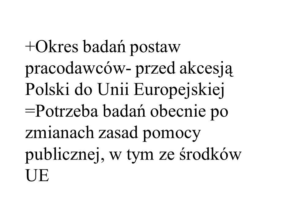 +Okres badań postaw pracodawców- przed akcesją Polski do Unii Europejskiej =Potrzeba badań obecnie po zmianach zasad pomocy publicznej, w tym ze środk