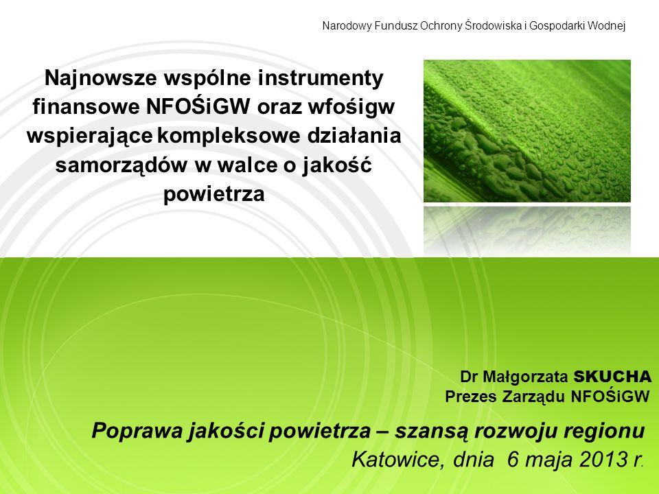 Najnowsze wspólne instrumenty finansowe NFOŚiGW oraz wfośigw wspierające kompleksowe działania samorządów w walce o jakość powietrza Dr Małgorzata SKU