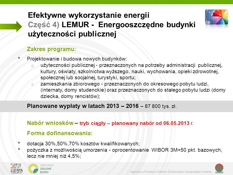 Narodowy Fundusz Ochrony Środowiska i Gospodarki Wodnej Efektywne wykorzystanie energii Część 4) LEMUR - Energooszczędne budynki użyteczności publiczn