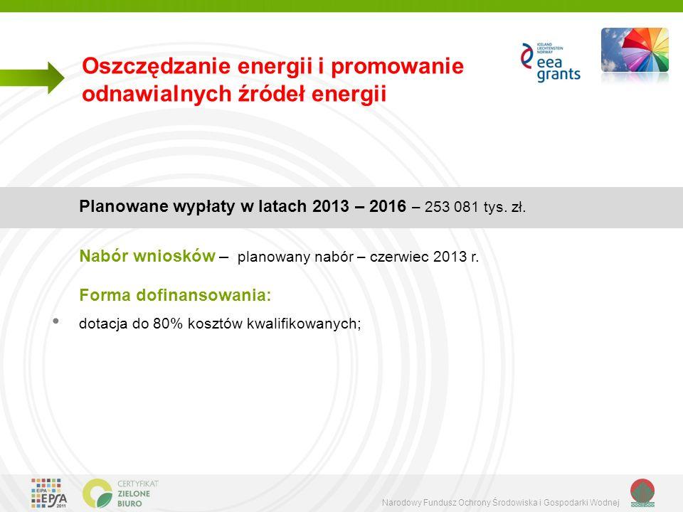 Narodowy Fundusz Ochrony Środowiska i Gospodarki Wodnej Oszczędzanie energii i promowanie odnawialnych źródeł energii Planowane wypłaty w latach 2013