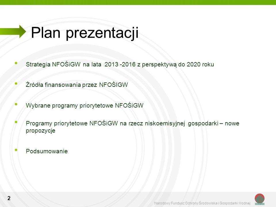 2 Plan prezentacji Strategia NFOŚiGW na lata 2013 -2016 z perspektywą do 2020 roku Źródła finansowania przez NFOŚIGW Wybrane programy priorytetowe NFO