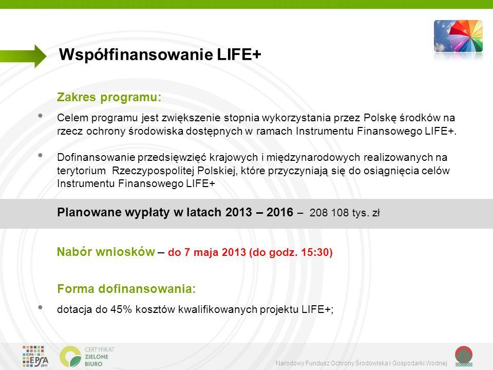 Narodowy Fundusz Ochrony Środowiska i Gospodarki Wodnej Współfinansowanie LIFE+ Zakres programu: Celem programu jest zwiększenie stopnia wykorzystania