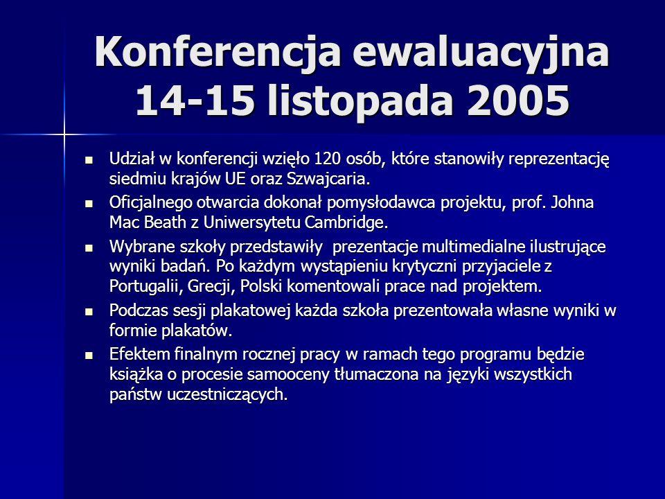 Konferencja ewaluacyjna 14-15 listopada 2005 Udział w konferencji wzięło 120 osób, które stanowiły reprezentację siedmiu krajów UE oraz Szwajcaria. Ud