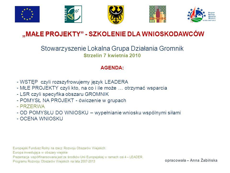 Europejski Fundusz Rolny na rzecz Rozwoju Obszarów Wiejskich: Europa inwestująca w obszary wiejskie Prezentacja współfinansowana jest ze środków Unii Europejskiej w ramach osi 4 – LEADER Programu Rozwoju Obszarów Wiejskich na lata 2007-2013 MAŁE PROJEKTY - MAŁE PROJEKTY - SZKOLENIE DLA WNIOSKODAWCÓW Stowarzyszenie Lokalna Grupa Działania Gromnik Strzelin 7 kwietnia 2010 AGENDA: opracowała – Anna Żabińska - WSTĘP czyli rozszyfrowujemy język LEADERA - MŁE PROJEKTY czyli kto, na co i ile może … otrzymać wsparcia - LSR czyli specyfika obszaru GROMNIK - POMYSŁ NA PROJEKT - ćwiczenie w grupach - PRZERWA - OD POMYSŁU DO WNIOSKU – wypełnianie wniosku wspólnymi siłami - OCENA WNIOSKU