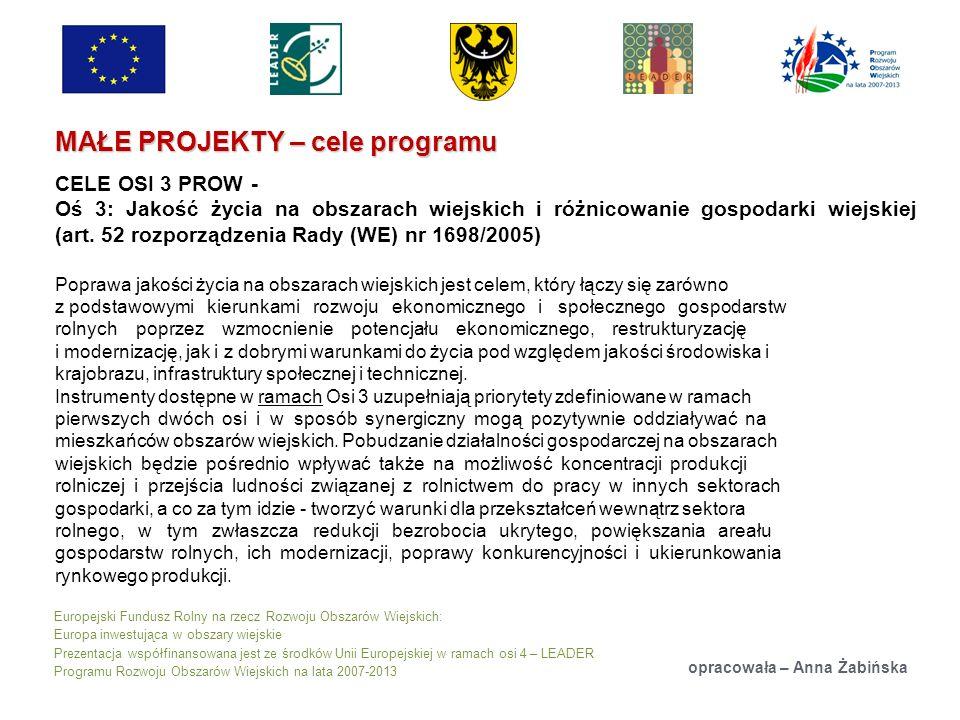 Europejski Fundusz Rolny na rzecz Rozwoju Obszarów Wiejskich: Europa inwestująca w obszary wiejskie Prezentacja współfinansowana jest ze środków Unii Europejskiej w ramach osi 4 – LEADER Programu Rozwoju Obszarów Wiejskich na lata 2007-2013 MAŁE PROJEKTY – cele programu opracowała – Anna Żabińska CELE OSI 3 PROW - Oś 3: Jakość życia na obszarach wiejskich i różnicowanie gospodarki wiejskiej (art.