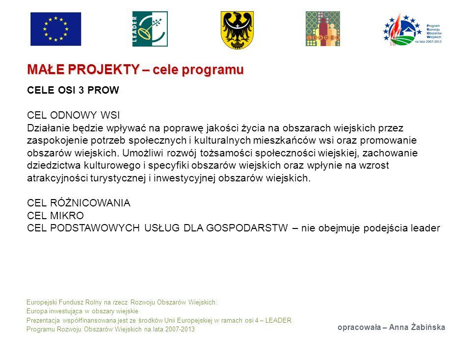 Europejski Fundusz Rolny na rzecz Rozwoju Obszarów Wiejskich: Europa inwestująca w obszary wiejskie Prezentacja współfinansowana jest ze środków Unii Europejskiej w ramach osi 4 – LEADER Programu Rozwoju Obszarów Wiejskich na lata 2007-2013 MAŁE PROJEKTY – cele programu opracowała – Anna Żabińska CELE OSI 3 PROW CEL ODNOWY WSI Działanie będzie wpływać na poprawę jakości życia na obszarach wiejskich przez zaspokojenie potrzeb społecznych i kulturalnych mieszkańców wsi oraz promowanie obszarów wiejskich.