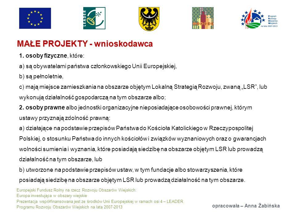 Europejski Fundusz Rolny na rzecz Rozwoju Obszarów Wiejskich: Europa inwestująca w obszary wiejskie Prezentacja współfinansowana jest ze środków Unii Europejskiej w ramach osi 4 – LEADER Programu Rozwoju Obszarów Wiejskich na lata 2007-2013 MAŁE PROJEKTY - wnioskodawca opracowała – Anna Żabińska 1.