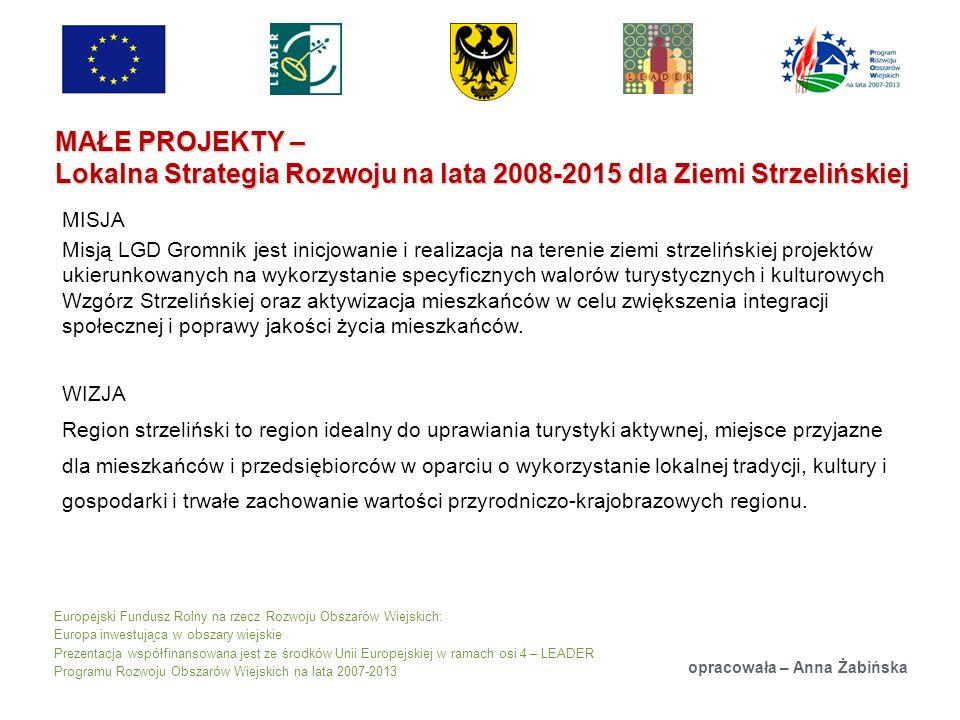 Europejski Fundusz Rolny na rzecz Rozwoju Obszarów Wiejskich: Europa inwestująca w obszary wiejskie Prezentacja współfinansowana jest ze środków Unii Europejskiej w ramach osi 4 – LEADER Programu Rozwoju Obszarów Wiejskich na lata 2007-2013 MAŁE PROJEKTY – Lokalna Strategia Rozwoju na lata 2008-2015 dla Ziemi Strzelińskiej opracowała – Anna Żabińska MISJA Misją LGD Gromnik jest inicjowanie i realizacja na terenie ziemi strzelińskiej projektów ukierunkowanych na wykorzystanie specyficznych walorów turystycznych i kulturowych Wzgórz Strzelińskiej oraz aktywizacja mieszkańców w celu zwiększenia integracji społecznej i poprawy jakości życia mieszkańców.