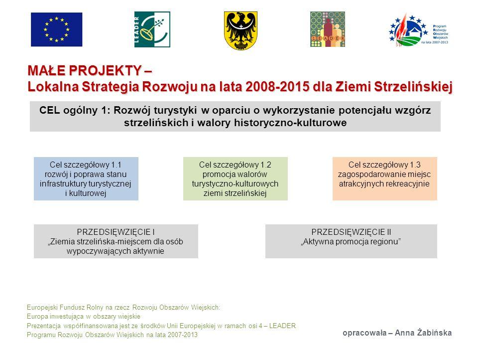 Europejski Fundusz Rolny na rzecz Rozwoju Obszarów Wiejskich: Europa inwestująca w obszary wiejskie Prezentacja współfinansowana jest ze środków Unii Europejskiej w ramach osi 4 – LEADER Programu Rozwoju Obszarów Wiejskich na lata 2007-2013 MAŁE PROJEKTY – Lokalna Strategia Rozwoju na lata 2008-2015 dla Ziemi Strzelińskiej opracowała – Anna Żabińska CEL ogólny 1: Rozwój turystyki w oparciu o wykorzystanie potencjału wzgórz strzelińskich i walory historyczno-kulturowe Cel szczegółowy 1.1 rozwój i poprawa stanu infrastruktury turystycznej i kulturowej Cel szczegółowy 1.2 promocja walorów turystyczno-kulturowych ziemi strzelińskiej Cel szczegółowy 1.3 zagospodarowanie miejsc atrakcyjnych rekreacyjnie PRZEDSIĘWZIĘCIE I Ziemia strzelińska-miejscem dla osób wypoczywających aktywnie PRZEDSIĘWZIĘCIE II Aktywna promocja regionu