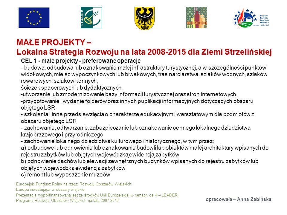 Europejski Fundusz Rolny na rzecz Rozwoju Obszarów Wiejskich: Europa inwestująca w obszary wiejskie Prezentacja współfinansowana jest ze środków Unii Europejskiej w ramach osi 4 – LEADER Programu Rozwoju Obszarów Wiejskich na lata 2007-2013 MAŁE PROJEKTY – Lokalna Strategia Rozwoju na lata 2008-2015 dla Ziemi Strzelińskiej opracowała – Anna Żabińska CEL 1 - małe projekty - preferowane operacje - budowa, odbudowa lub oznakowanie małej infrastruktury turystycznej, a w szczególności punktów widokowych, miejsc wypoczynkowych lub biwakowych, tras narciarstwa, szlaków wodnych, szlaków rowerowych, szlaków konnych, ścieżek spacerowych lub dydaktycznych.