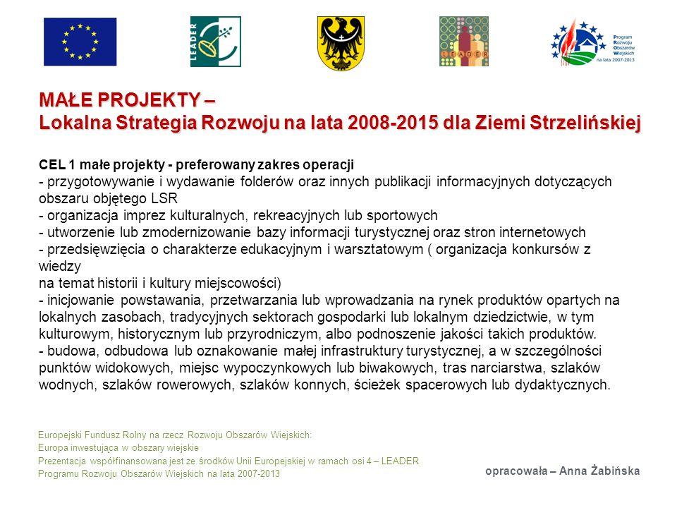 Europejski Fundusz Rolny na rzecz Rozwoju Obszarów Wiejskich: Europa inwestująca w obszary wiejskie Prezentacja współfinansowana jest ze środków Unii Europejskiej w ramach osi 4 – LEADER Programu Rozwoju Obszarów Wiejskich na lata 2007-2013 MAŁE PROJEKTY – Lokalna Strategia Rozwoju na lata 2008-2015 dla Ziemi Strzelińskiej opracowała – Anna Żabińska CEL 1 małe projekty - preferowany zakres operacji - przygotowywanie i wydawanie folderów oraz innych publikacji informacyjnych dotyczących obszaru objętego LSR - organizacja imprez kulturalnych, rekreacyjnych lub sportowych - utworzenie lub zmodernizowanie bazy informacji turystycznej oraz stron internetowych - przedsięwzięcia o charakterze edukacyjnym i warsztatowym ( organizacja konkursów z wiedzy na temat historii i kultury miejscowości) - inicjowanie powstawania, przetwarzania lub wprowadzania na rynek produktów opartych na lokalnych zasobach, tradycyjnych sektorach gospodarki lub lokalnym dziedzictwie, w tym kulturowym, historycznym lub przyrodniczym, albo podnoszenie jakości takich produktów.