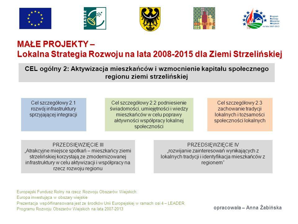 Europejski Fundusz Rolny na rzecz Rozwoju Obszarów Wiejskich: Europa inwestująca w obszary wiejskie Prezentacja współfinansowana jest ze środków Unii Europejskiej w ramach osi 4 – LEADER Programu Rozwoju Obszarów Wiejskich na lata 2007-2013 MAŁE PROJEKTY – Lokalna Strategia Rozwoju na lata 2008-2015 dla Ziemi Strzelińskiej opracowała – Anna Żabińska CEL ogólny 2: Aktywizacja mieszkańców i wzmocnienie kapitału społecznego regionu ziemi strzelińskiej Cel szczegółowy 2.1 rozwój infrastruktury sprzyjającej integracji Cel szczegółowy 2.2 podniesienie świadomości, umiejętności i wiedzy mieszkańców w celu poprawy aktywności współpracy lokalnej społeczności Cel szczegółowy 2.3 zachowanie tradycji lokalnych i tożsamości społeczności lokalnych PRZEDSIĘWZIĘCIE III Atrakcyjne miejsce spotkań – mieszkańcy ziemi strzelińskiej korzystają ze zmodernizowanej infrastruktury w celu aktywizacji i współpracy na rzecz rozwoju regionu PRZEDSIĘWZIĘCIE IV rozwijanie zainteresowań wynikających z lokalnych tradycji i identyfikacja mieszkańców z regionem