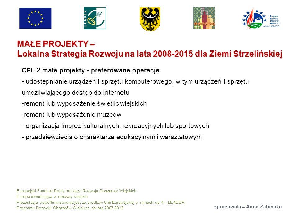Europejski Fundusz Rolny na rzecz Rozwoju Obszarów Wiejskich: Europa inwestująca w obszary wiejskie Prezentacja współfinansowana jest ze środków Unii Europejskiej w ramach osi 4 – LEADER Programu Rozwoju Obszarów Wiejskich na lata 2007-2013 MAŁE PROJEKTY – Lokalna Strategia Rozwoju na lata 2008-2015 dla Ziemi Strzelińskiej opracowała – Anna Żabińska CEL 2 małe projekty - preferowane operacje - udostępnianie urządzeń i sprzętu komputerowego, w tym urządzeń i sprzętu umożliwiającego dostęp do Internetu -remont lub wyposażenie świetlic wiejskich -remont lub wyposażenie muzeów - organizacja imprez kulturalnych, rekreacyjnych lub sportowych - przedsięwzięcia o charakterze edukacyjnym i warsztatowym