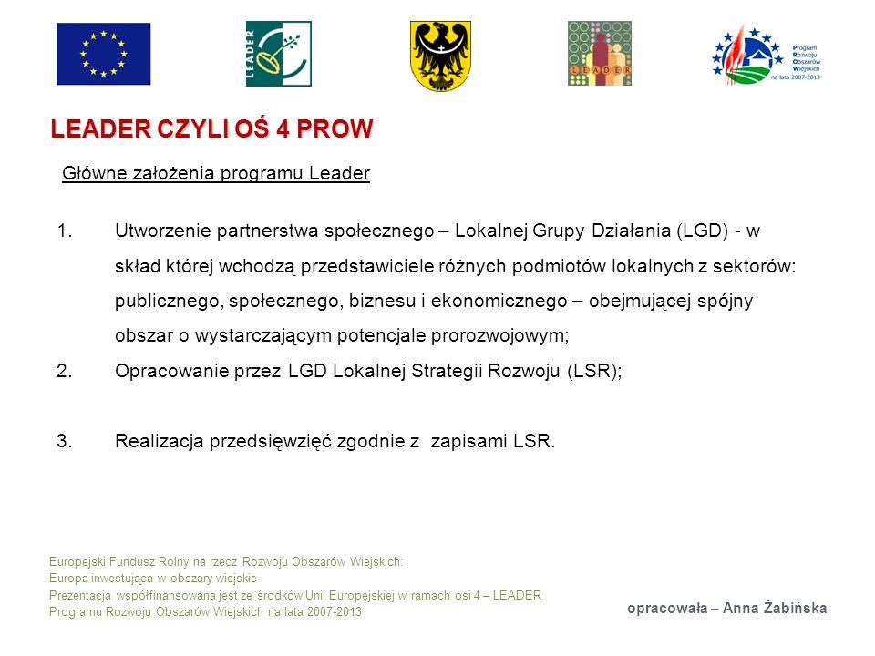 Europejski Fundusz Rolny na rzecz Rozwoju Obszarów Wiejskich: Europa inwestująca w obszary wiejskie Prezentacja współfinansowana jest ze środków Unii Europejskiej w ramach osi 4 – LEADER Programu Rozwoju Obszarów Wiejskich na lata 2007-2013 LEADER CZYLI OŚ 4 PROW opracowała – Anna Żabińska Główne założenia programu Leader 1.Utworzenie partnerstwa społecznego – Lokalnej Grupy Działania (LGD) - w skład której wchodzą przedstawiciele różnych podmiotów lokalnych z sektorów: publicznego, społecznego, biznesu i ekonomicznego – obejmującej spójny obszar o wystarczającym potencjale prorozwojowym; 2.Opracowanie przez LGD Lokalnej Strategii Rozwoju (LSR); 3.Realizacja przedsięwzięć zgodnie z zapisami LSR.