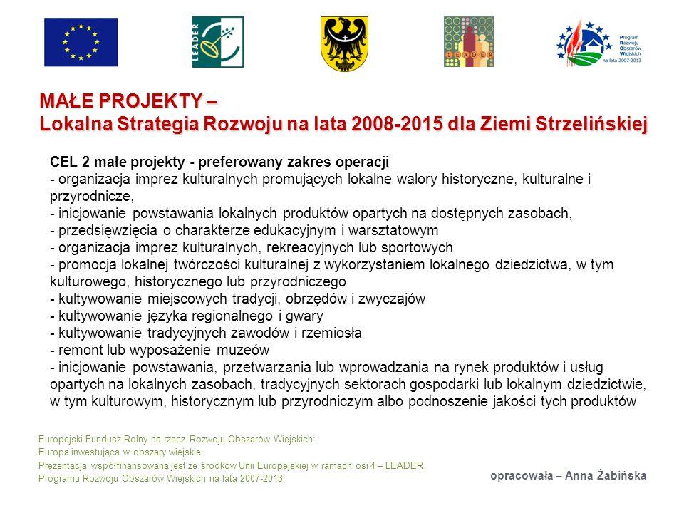 Europejski Fundusz Rolny na rzecz Rozwoju Obszarów Wiejskich: Europa inwestująca w obszary wiejskie Prezentacja współfinansowana jest ze środków Unii Europejskiej w ramach osi 4 – LEADER Programu Rozwoju Obszarów Wiejskich na lata 2007-2013 MAŁE PROJEKTY – Lokalna Strategia Rozwoju na lata 2008-2015 dla Ziemi Strzelińskiej opracowała – Anna Żabińska CEL 2 małe projekty - preferowany zakres operacji - organizacja imprez kulturalnych promujących lokalne walory historyczne, kulturalne i przyrodnicze, - inicjowanie powstawania lokalnych produktów opartych na dostępnych zasobach, - przedsięwzięcia o charakterze edukacyjnym i warsztatowym - organizacja imprez kulturalnych, rekreacyjnych lub sportowych - promocja lokalnej twórczości kulturalnej z wykorzystaniem lokalnego dziedzictwa, w tym kulturowego, historycznego lub przyrodniczego - kultywowanie miejscowych tradycji, obrzędów i zwyczajów - kultywowanie języka regionalnego i gwary - kultywowanie tradycyjnych zawodów i rzemiosła - remont lub wyposażenie muzeów - inicjowanie powstawania, przetwarzania lub wprowadzania na rynek produktów i usług opartych na lokalnych zasobach, tradycyjnych sektorach gospodarki lub lokalnym dziedzictwie, w tym kulturowym, historycznym lub przyrodniczym albo podnoszenie jakości tych produktów