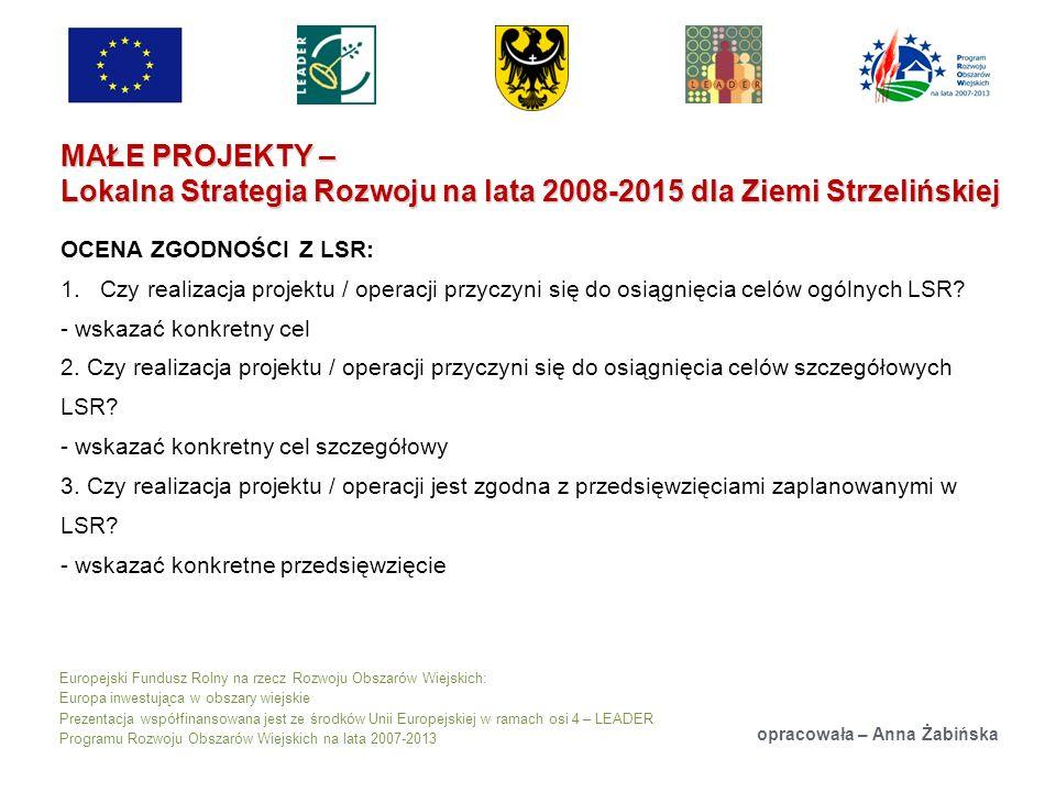 Europejski Fundusz Rolny na rzecz Rozwoju Obszarów Wiejskich: Europa inwestująca w obszary wiejskie Prezentacja współfinansowana jest ze środków Unii Europejskiej w ramach osi 4 – LEADER Programu Rozwoju Obszarów Wiejskich na lata 2007-2013 MAŁE PROJEKTY – Lokalna Strategia Rozwoju na lata 2008-2015 dla Ziemi Strzelińskiej opracowała – Anna Żabińska OCENA ZGODNOŚCI Z LSR: 1.Czy realizacja projektu / operacji przyczyni się do osiągnięcia celów ogólnych LSR.