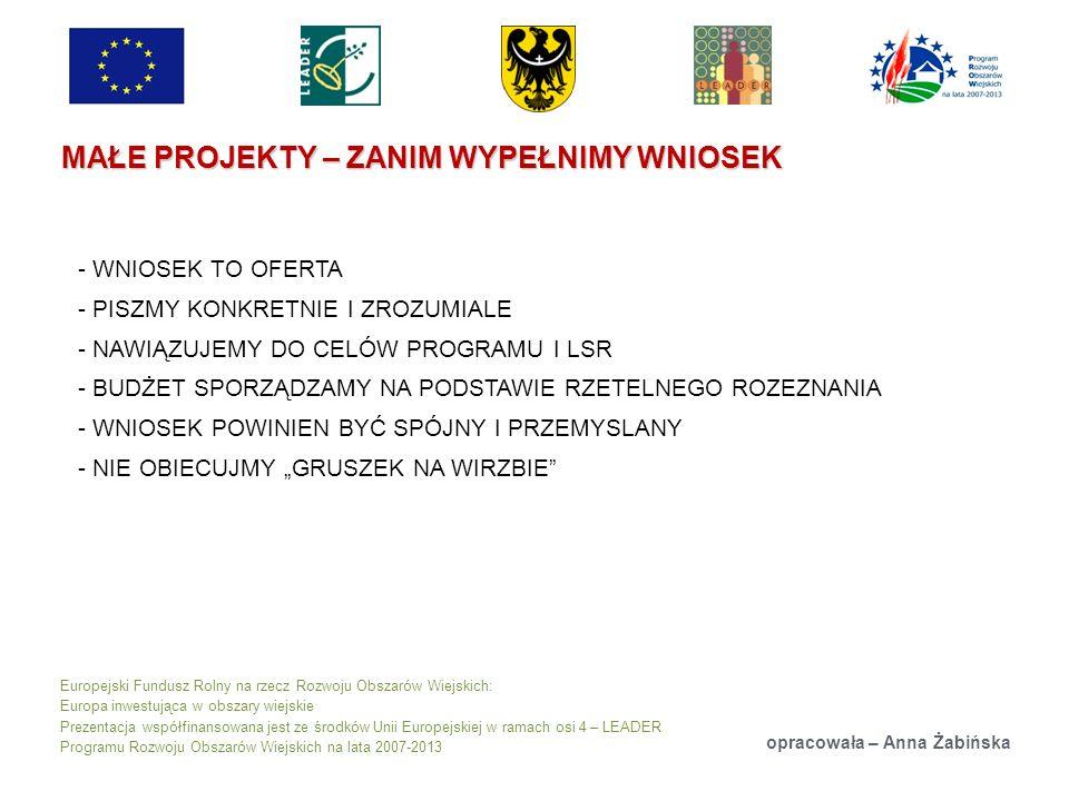 Europejski Fundusz Rolny na rzecz Rozwoju Obszarów Wiejskich: Europa inwestująca w obszary wiejskie Prezentacja współfinansowana jest ze środków Unii Europejskiej w ramach osi 4 – LEADER Programu Rozwoju Obszarów Wiejskich na lata 2007-2013 MAŁE PROJEKTY – ZANIM WYPEŁNIMY WNIOSEK opracowała – Anna Żabińska - WNIOSEK TO OFERTA - PISZMY KONKRETNIE I ZROZUMIALE - NAWIĄZUJEMY DO CELÓW PROGRAMU I LSR - BUDŻET SPORZĄDZAMY NA PODSTAWIE RZETELNEGO ROZEZNANIA - WNIOSEK POWINIEN BYĆ SPÓJNY I PRZEMYSLANY - NIE OBIECUJMY GRUSZEK NA WIRZBIE