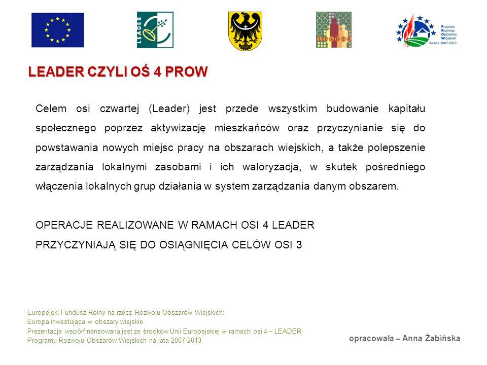 Europejski Fundusz Rolny na rzecz Rozwoju Obszarów Wiejskich: Europa inwestująca w obszary wiejskie Prezentacja współfinansowana jest ze środków Unii Europejskiej w ramach osi 4 – LEADER Programu Rozwoju Obszarów Wiejskich na lata 2007-2013 LEADER CZYLI OŚ 4 PROW opracowała – Anna Żabińska Celem osi czwartej (Leader) jest przede wszystkim budowanie kapitału społecznego poprzez aktywizację mieszkańców oraz przyczynianie się do powstawania nowych miejsc pracy na obszarach wiejskich, a także polepszenie zarządzania lokalnymi zasobami i ich waloryzacja, w skutek pośredniego włączenia lokalnych grup działania w system zarządzania danym obszarem.