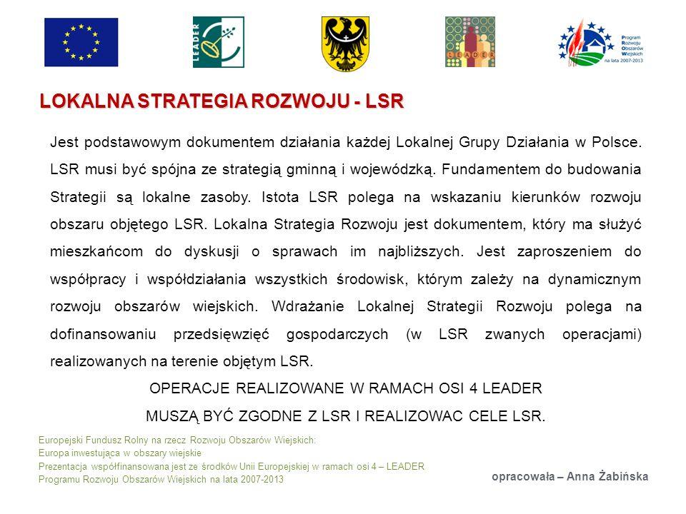 Europejski Fundusz Rolny na rzecz Rozwoju Obszarów Wiejskich: Europa inwestująca w obszary wiejskie Prezentacja współfinansowana jest ze środków Unii Europejskiej w ramach osi 4 – LEADER Programu Rozwoju Obszarów Wiejskich na lata 2007-2013 LOKALNA STRATEGIA ROZWOJU - LSR opracowała – Anna Żabińska Jest podstawowym dokumentem działania każdej Lokalnej Grupy Działania w Polsce.