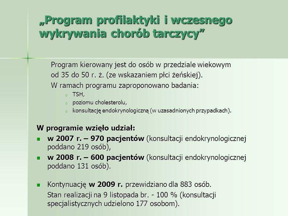 Program profilaktyki i wczesnego wykrywania chorób tarczycy Program kierowany jest do osób w przedziale wiekowym od 35 do 50 r. ż. (ze wskazaniem płci