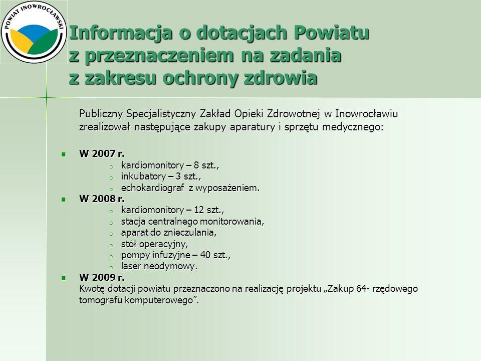 Informacja o dotacjach Powiatu z przeznaczeniem na zadania z zakresu ochrony zdrowia Publiczny Specjalistyczny Zakład Opieki Zdrowotnej w Inowrocławiu