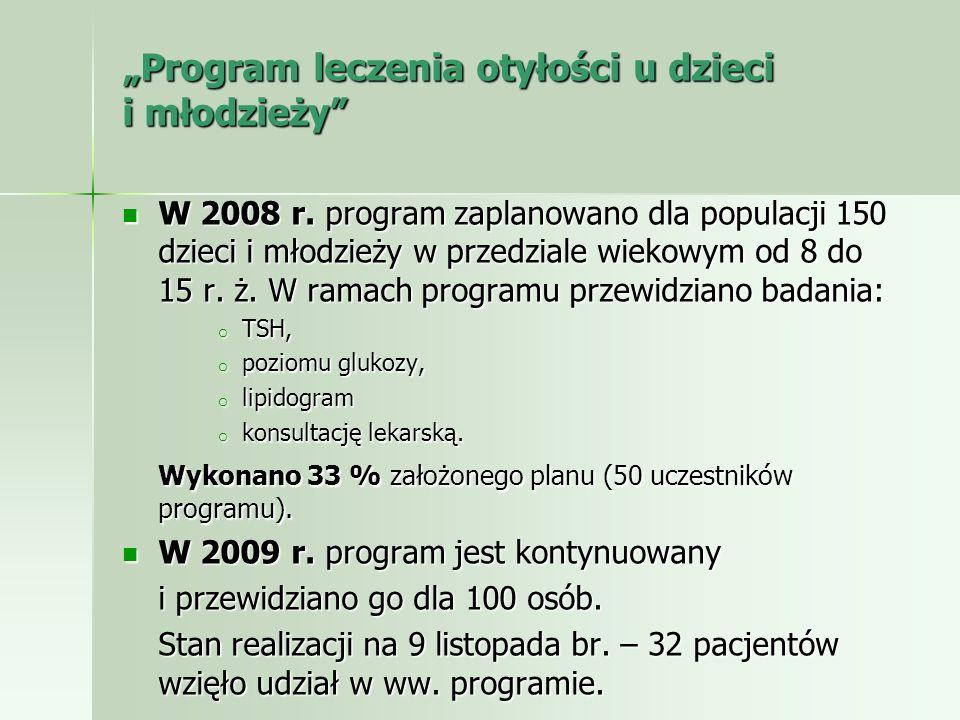 Program leczenia otyłości u dzieci i młodzieży Program leczenia otyłości u dzieci i młodzieży W 2008 r. program zaplanowano dla populacji 150 dzieci i