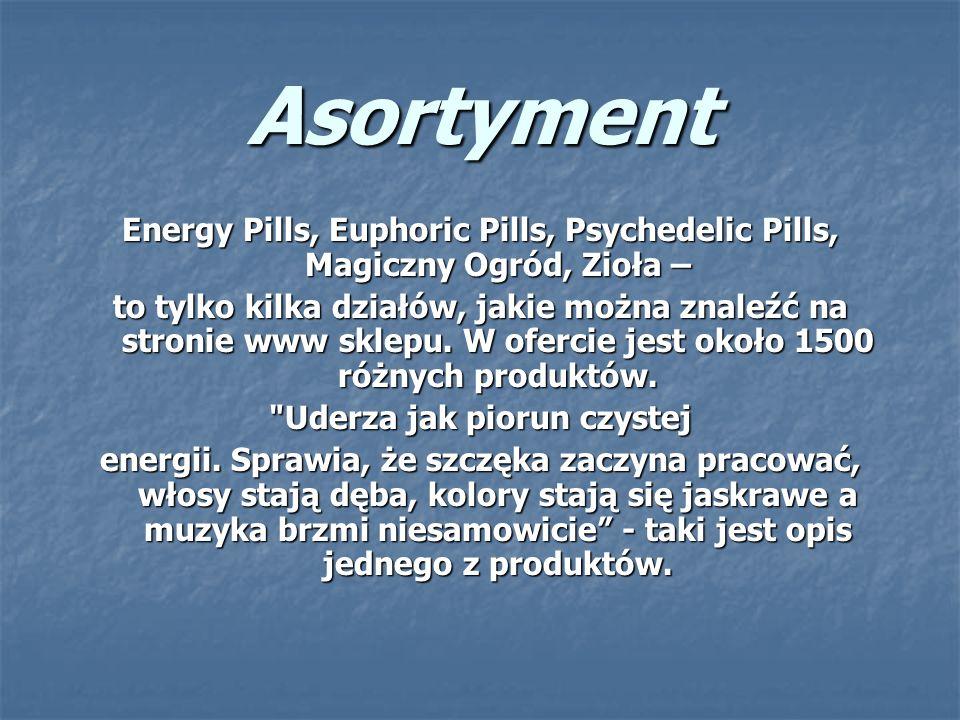 Asortyment Energy Pills, Euphoric Pills, Psychedelic Pills, Magiczny Ogród, Zioła – to tylko kilka działów, jakie można znaleźć na stronie www sklepu.