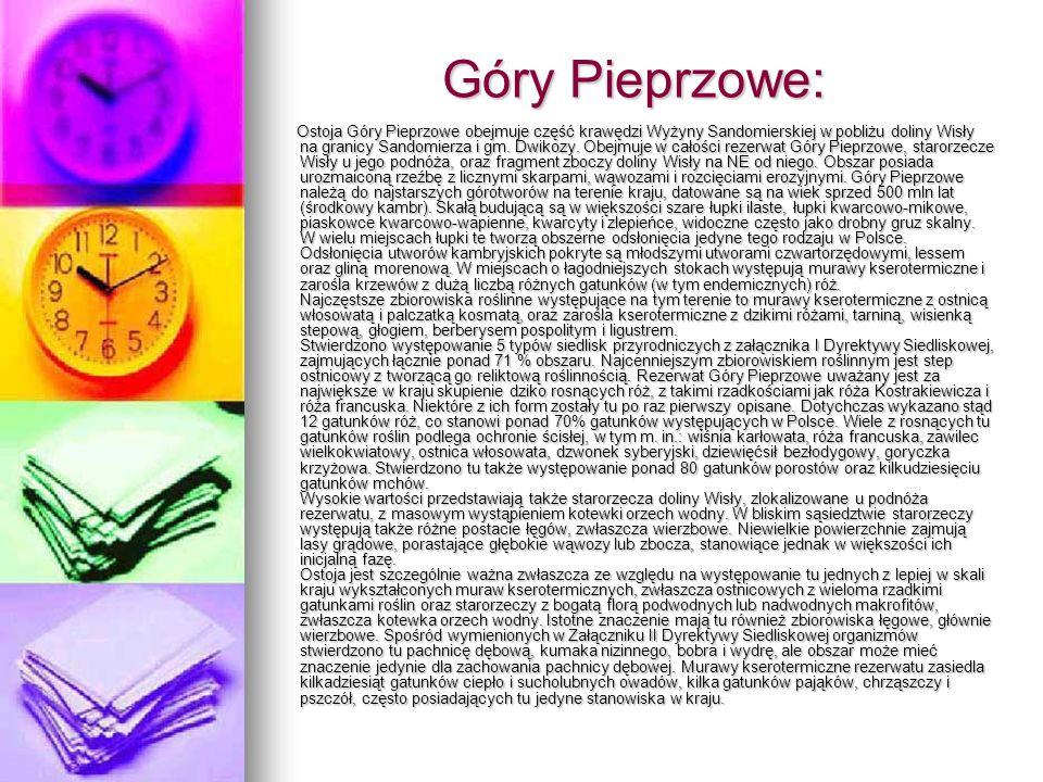 Góry Pieprzowe: Ostoja Góry Pieprzowe obejmuje część krawędzi Wyżyny Sandomierskiej w pobliżu doliny Wisły na granicy Sandomierza i gm. Dwikozy. Obejm