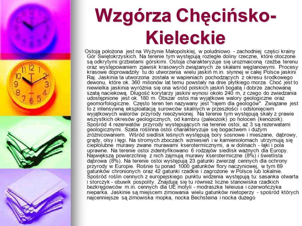 Wzgórza Chęcińsko- Kieleckie Ostoja położona jest na Wyżynie Małopolskiej, w południowo - zachodniej części krainy Gór Świętokrzyskich. Na terenie tym