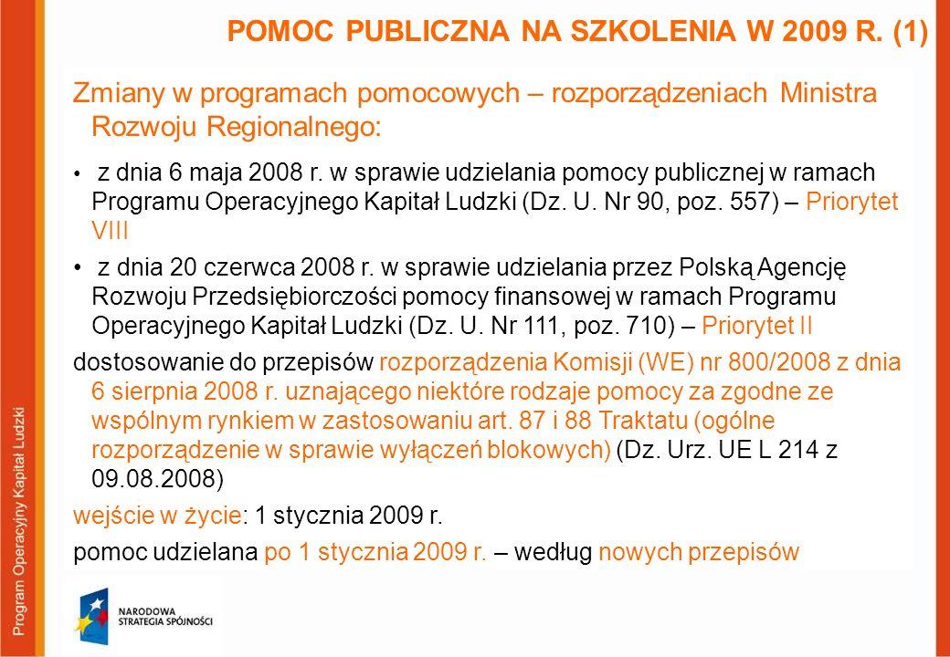 Zmiany w programach pomocowych – rozporządzeniach Ministra Rozwoju Regionalnego: z dnia 6 maja 2008 r. w sprawie udzielania pomocy publicznej w ramach