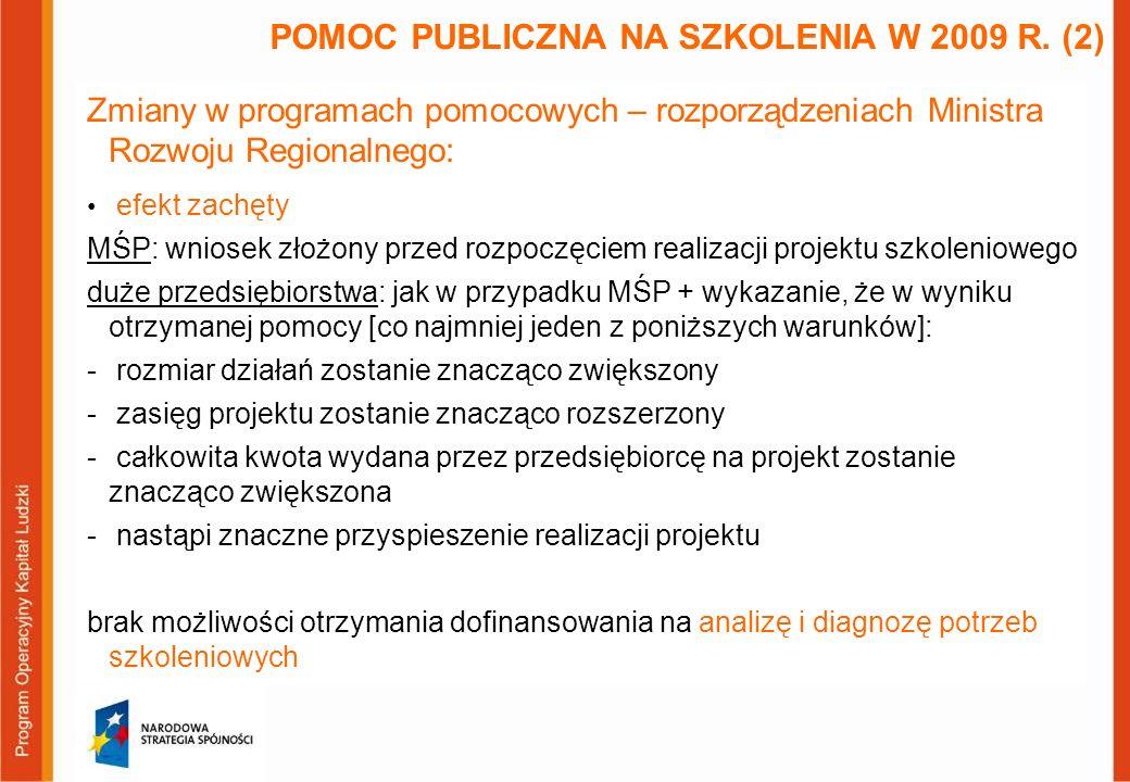 Zmiany w programach pomocowych – rozporządzeniach Ministra Rozwoju Regionalnego: efekt zachęty MŚP: wniosek złożony przed rozpoczęciem realizacji proj