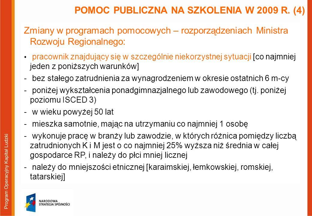 Zmiany w programach pomocowych – rozporządzeniach Ministra Rozwoju Regionalnego: maksymalna wielkość jednego projektu na przedsiębiorcę zwiększona z 1 do 2 mln EUR POMOC PUBLICZNA NA SZKOLENIA W 2009 R.